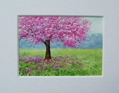 Original Cherry Blossom Tree Signed Landscape Miniature Aceo Painting