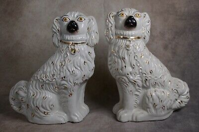 Superb Mid 19Th Century Staffordshire Figure: Seated Spaniels Comforter Dogs