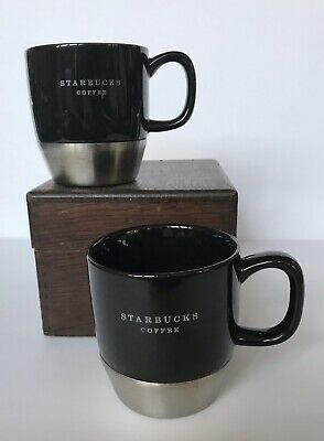 2 Starbucks Urban Desk 2007 Mug Black Ceramic Stainless Steel Bottom 10 oz Mug