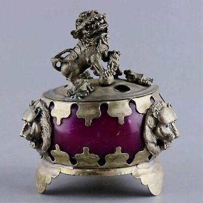 Handwork China Old Miao Silver Inlay Agate Carved Lion & Frog Exquisite Censer