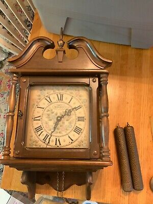 Vintage New England Clock Wall Clock Hour & Half-Hour Chimes, excellent shape