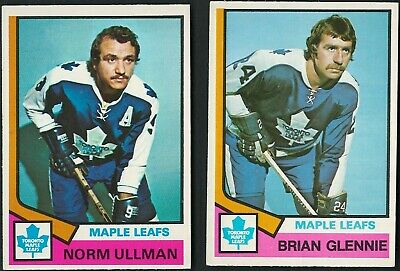 1974-75 Opc Toronto Maple Leafs Norm Ullman - Brian Glennie Cards 2 Lot Nr-Mint