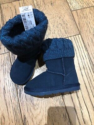 Bnwt Next Navy Toddler Boots Uk 4 Girls Sparkly Knitted Top Winter Boot