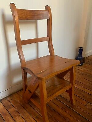 Antique Library Step Ladder Step Stool Chair Primitive Country Kitchen