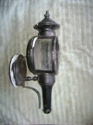 Antique  Metal Carriage Lantern With Beveled Glass