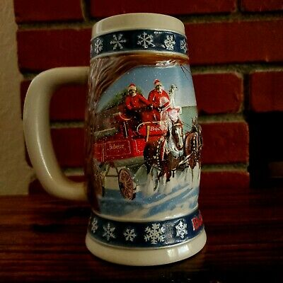 """Budweiser Holiday Ceramic Vintage Stein """"Lighting the Way Home"""" 1995 Christmas"""