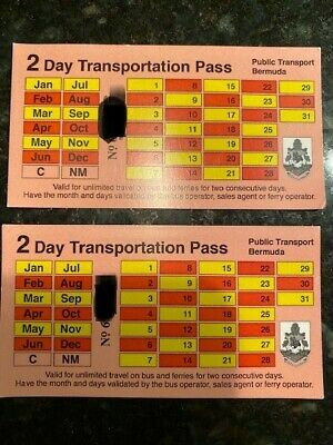 Two (2) NEW/UNUSED Bermuda 2 Day Bus & Ferry Pass (All Zones) for adults