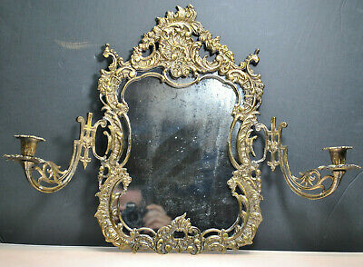 Rare-Art Deco Antique Bronze Mirror Wall Sconce With 2-Arm Candle Holders