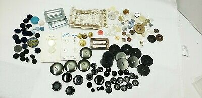 Lot of Vintage Buttons Sewing Metal MOP Cloth Covered Black Abalone Buckle Hooks