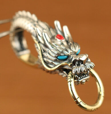 fine s925 silver hand carved dragon key chain statue collectable ornament