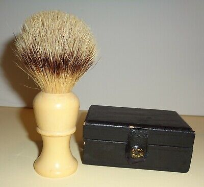 Vintage EVER - READY Shaving BRUSH #500 Pure Badger in Rubber + RAZOR BOX ~ Cool