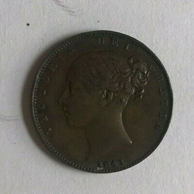 Victoria 1841 Young Head copper farthing (1/4d)