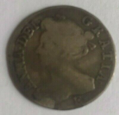 Anne 1708 silver sixpence (6d) 'E' mark