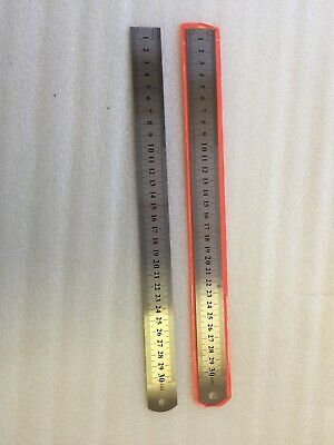 "2 Pcs Stainless Steel Ruler 30 Cm 12"" Metric & Imperial Other Side"