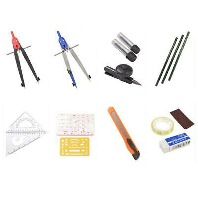 Drawing Compass Drafting Tool Set Ruler Pencils Eraser Student School Stationery