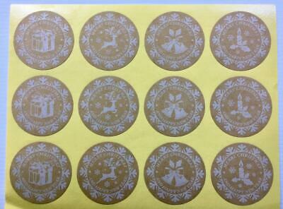 36 CHRISTMAS KRAFT STICKERS white snowflakes labels seals gift treat bags 3.5cm