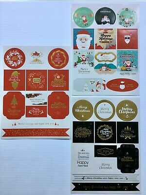24 CHRISTMAS STICKERS choice of 3 types labels seals gift treat bags xmas