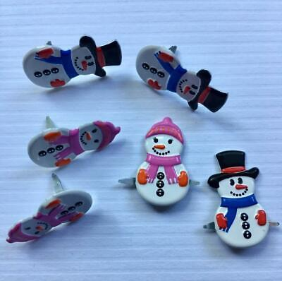 BRADS MR AND MRS SNOWMAN  pk of 6 christmas xmas split pin craft cards
