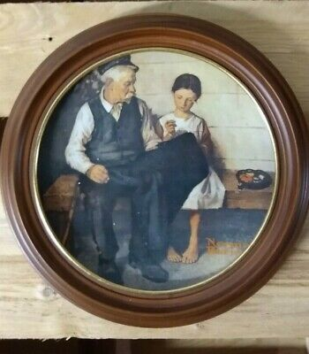 Norman Rockwell -The Lighthouse Keepers Daughter Collector Knowles Plate & Frame