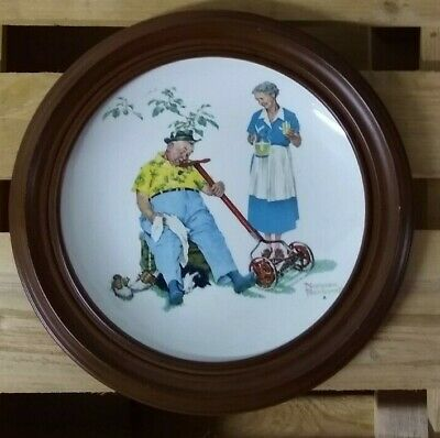"""1978 Norman Rockwell """"Summer Cool Aid"""" Gorham 10 3/4"""" Tender Years w/ frame"""