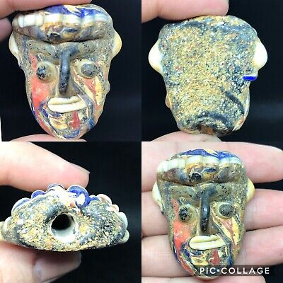 Wonderful old phonensian mosaic glass face amulet bead