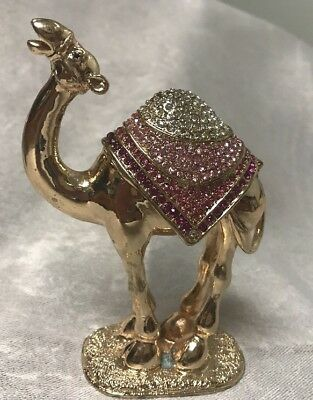 Gold Enamel Camel With Clear, Light Pink & Dark Pink Crystals On The Blanket.