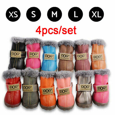 4pcs/set Waterproof Pet Shoes Winter Dog Cat Snow Boot Anti-Slip Warm Puppy Boot