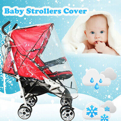 Universal Waterproof Stroller Cover Plastic Wind Shield Pushchairs Shades Rain T