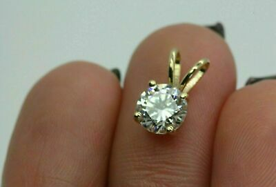 """1.00 CT Round Cut Solitaire 14k Yellow Gold Over Diamond Pendant With 18"""" Chain"""
