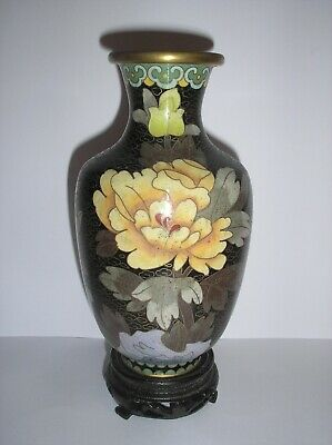 Vintage Chinese Cloisonne Vase Wood Stand