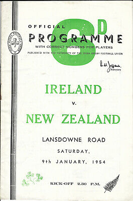 IRELAND v NEW ZEALAND ALL BLACKS 9 Jan 1954 RUGBY PROGRAMME - LANSDOWNE RD