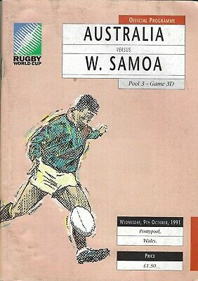 AUSTRALIA v W.SAMOA RUGBY WORLD CUP 09th OCTOBER 1991 PROGRAMME