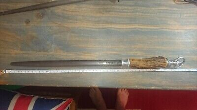 F Dick reverse arrow butchers steel. Antler handle. Rare Shape!! Must see!