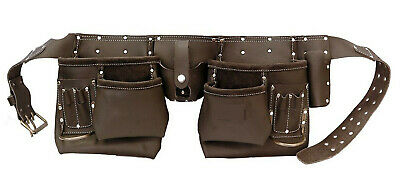 Oil Tanned Tool Belt Leather Double Heavy Duty Double Stitched Pouch Multi Use