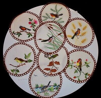 Vintage Set of 8 Hand Embroidered Bird Doilies  - VERY UNUSUAL!!