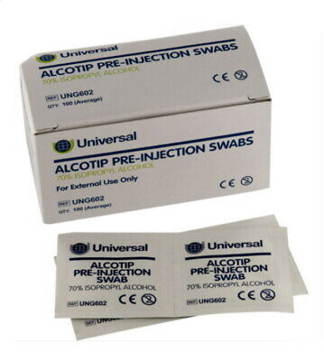 Universal Pre Injection Swabs 70% IPA Alcohol Wipes - 2000 (20 boxes of 100)