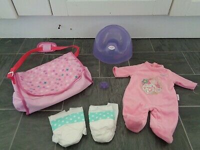 baby born bundle-potty,sleepsuit,dummy,new changing bag+nappies/accessories+