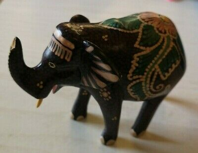 Small Hand Painted Elephant Wooden Ornament (D1 GA)