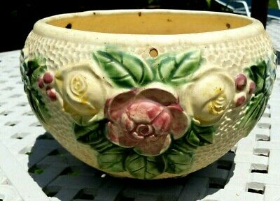 """ANTIQUE ROZANE WARE ROSEVILLE POTTERY 10"""" WIDE HANGING PLANTER b"""