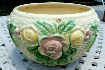 """ANTIQUE ROZANE WARE ROSEVILLE POTTERY 10"""" WIDE HANGING PLANTER a"""