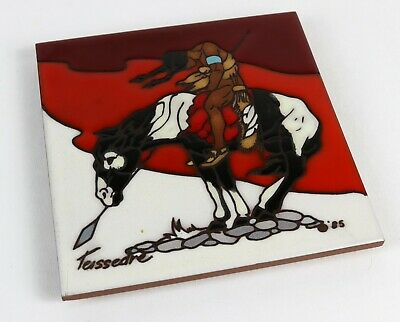 "Vintage Southwestern Cleo Teissedre Warrior on Horse Ceramic 6"" x 6"" Tile"