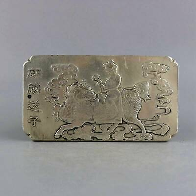Collect Old Miao Silver Carved Myth Kylin & Fairchild Moral Bring Luck Pendant