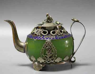 China Old Tibet Silver Cloisonne Inlay Agate Hand-Carved Exquisite Noble Teapot