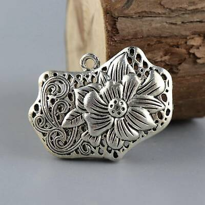Collect China Old Miao Silver Carve Delicate Auspicious Hollow Out Lotus Pendant