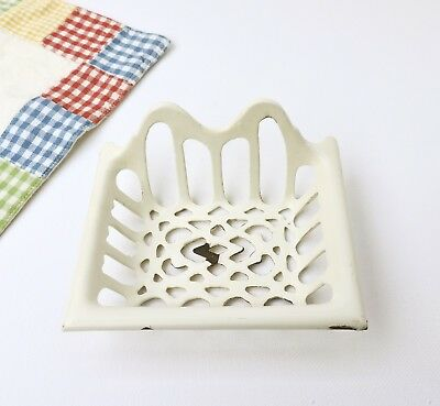 French vintage old enamel Soap Dish cast iron Drain Creamy white bowl enamelware
