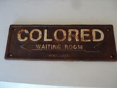 Cast Iron Segregation Sign ~~Colored Waiting Room~~  April.1932