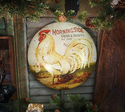 Primitive Antique Vtg Style Country Rooster Chicken Grain Seed Tin Dome Sign