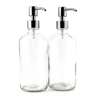 16-Ounce Clear Glass Boston Round Bottles w/Stainless Steel Pumps (2 Pack), G...
