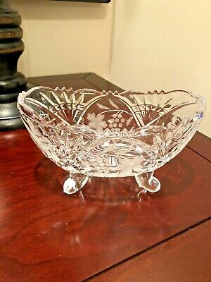 Vintage Footed Cut Crystal W/Etched Flower Candy Dish