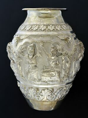 Antique Colonial India Lucknow Sterling Silver Repousse Ceremonial Offering Vase